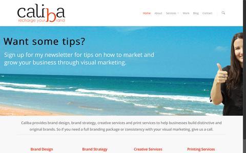 Screenshot of Home Page caliba.com.au - Caliba Design + Branding - captured July 17, 2015