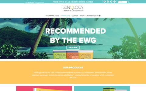 Screenshot of Products Page sunology.com - Natural Suncreen Products for Face and Body | Sunology - captured Feb. 12, 2016