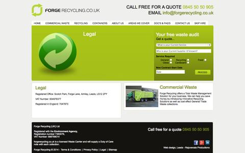 Screenshot of Terms Page forgerecycling.co.uk - Legal - Commercial Waste Management and Recycling Service in Leeds and Harrogate - captured Oct. 6, 2014