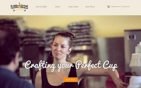 Screenshot of Home Page philzcoffee.com - Philz Coffee - captured Feb. 24, 2016