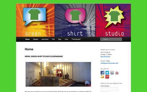 Screenshot of Home Page greenshirtstudio.com - Green Shirt Studio: Meisner Acting Classes in Chicago - captured Sept. 30, 2014