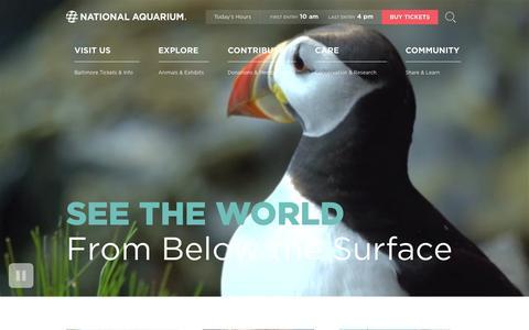 Screenshot of Home Page aqua.org - National Aquarium - Baltimore, MD - captured Dec. 10, 2015