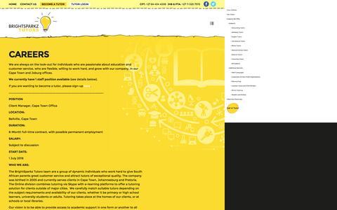 Screenshot of Jobs Page brightsparkz.co.za - Careers - BrightSparkz Tutors - captured Nov. 23, 2016