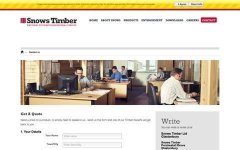 Screenshot of Contact Page snowstimber.com - Contact us - Snows Timber - captured Oct. 1, 2014