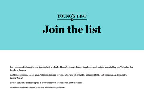 Screenshot of Signup Page youngslist.com.au - Young's List Barristers - captured Sept. 20, 2018