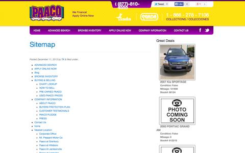 Screenshot of Site Map Page paaco.com - Sitemap | Paaco Used Cars - captured Oct. 1, 2014