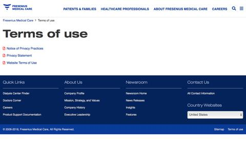 Screenshot of Terms Page fmcna.com - Terms of use | Fresenius Medical Care - captured March 26, 2018