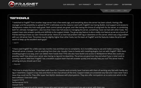 Screenshot of Testimonials Page fragnet.net - Fragnet - Testimonials - FragNet | Built for Gamers. - captured Dec. 20, 2015