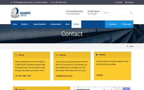 Screenshot of Contact Page sharpe.com.au - Contact | Sharpe - captured Dec. 3, 2016