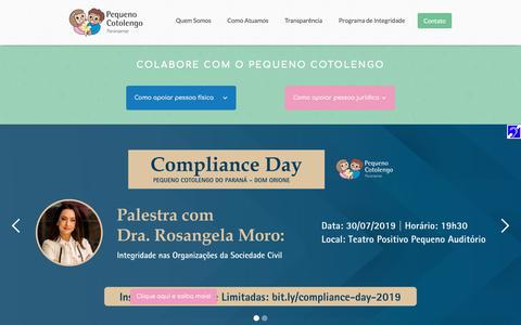 Screenshot of Home Page pequenocotolengo.org.br - Pequeno Cotolengo Paranaense - captured July 20, 2019