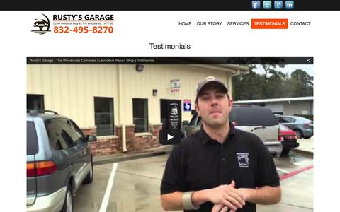 Screenshot of Testimonials Page rustys-garage.com - Testimonials | Rusty's Garage - captured Jan. 11, 2016