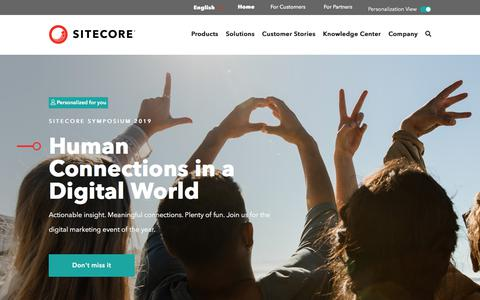 Screenshot of Home Page sitecore.com - Sitecore: Integrated .NET CMS Platform and E-commerce Solution - captured July 14, 2019