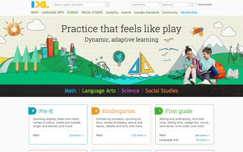 Screenshot of Home Page ixl.com - IXL | Math, Language Arts, Science, and Social Studies Practice - captured May 14, 2016