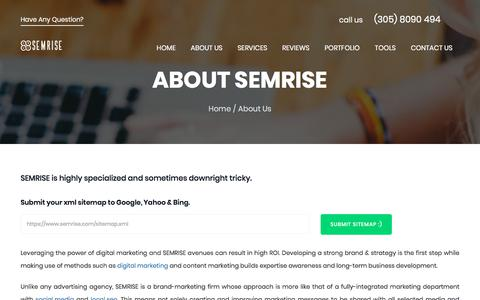 Screenshot of About Page semrise.com - ABOUT US - captured July 25, 2018