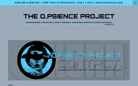 Screenshot of Contact Page qpsience.org - CONTACT. — THE Q.PSIENCE PROJECT - captured Sept. 25, 2018