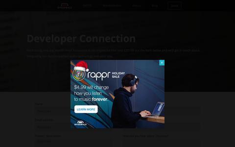 Screenshot of Developers Page dysonics.com - Developers    Dysonics - captured Dec. 11, 2015