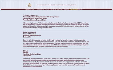 Screenshot of Testimonials Page sdgadvisors.org - Testimonials SDG Advisors LLC - captured Feb. 3, 2016