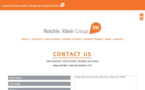 Screenshot of Contact Page rkgcommercial.com - Reichle | Klein Group - Contact - captured Dec. 21, 2018