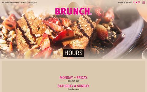 Screenshot of Hours Page brunchit.com - Hours - Brunch Chicago - captured Jan. 30, 2018