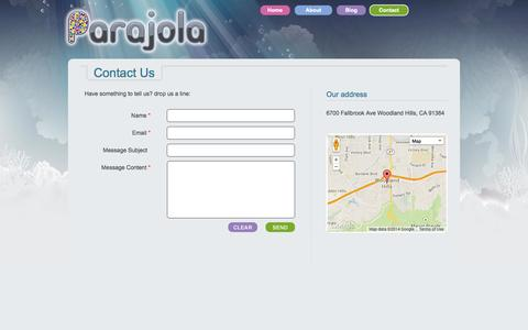 Screenshot of Contact Page parajola.com - Contact Parajola | Parajola - captured Sept. 27, 2014