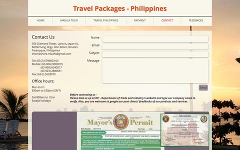 Screenshot of Contact Page shore2shoretravelservices.com - Travel agency in Manila Philippines - captured Jan. 14, 2017