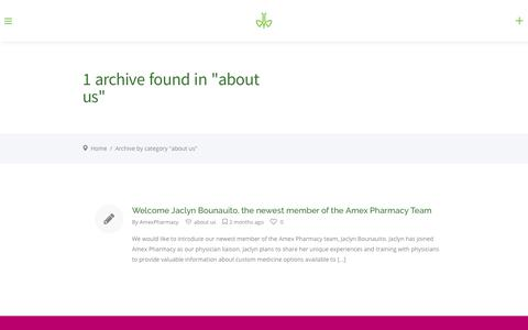 Screenshot of About Page amexpharmacy.com - about us – AMEX PHARMACY - captured July 29, 2018