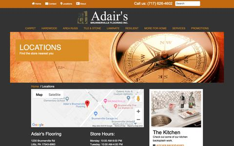 Screenshot of Locations Page adairsflooring.com - Find everything you need at one of our nearby stores. - captured Oct. 3, 2018