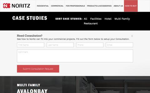 Screenshot of Case Studies Page noritz.com - Case Studies - captured June 24, 2017