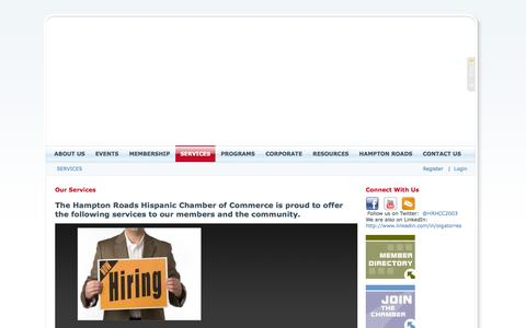 Screenshot of Services Page hrhcc.org - Hampton Roads Hispanic Chamber of Commerce > SERVICES - captured Oct. 1, 2014