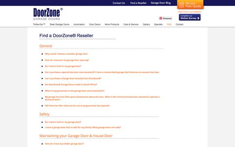 Screenshot of FAQ Page doorzonesa.com - DoorZone® Frequently Asked Questions - captured Nov. 24, 2016