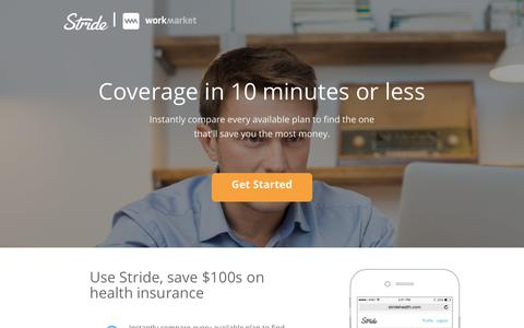 Screenshot of Landing Page workmarket.com - Health Insurance Coverage in 10 Minutes - WorkMarket - captured Nov. 30, 2018