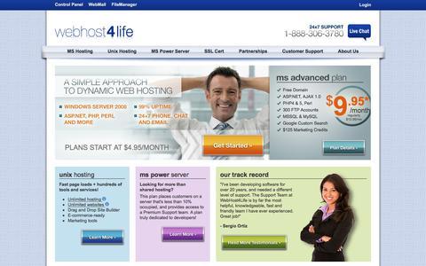 Screenshot of Home Page webhost4life.com - WebHost4Life | Web Hosting, Unix Hosting, E-Mail, Web Design - captured Jan. 27, 2017