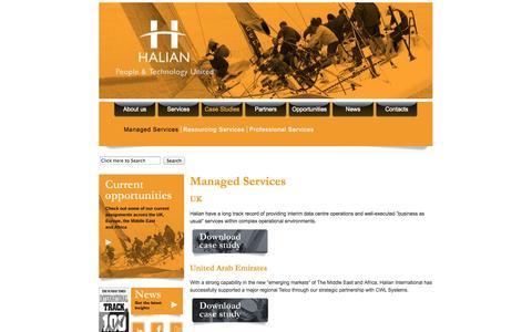 Screenshot of Case Studies Page halian.com - Managed Services «  Halian - captured Sept. 27, 2014
