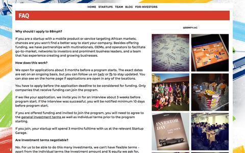 Screenshot of FAQ Page 88mph.ac - FAQ | 88mph - captured Oct. 30, 2014