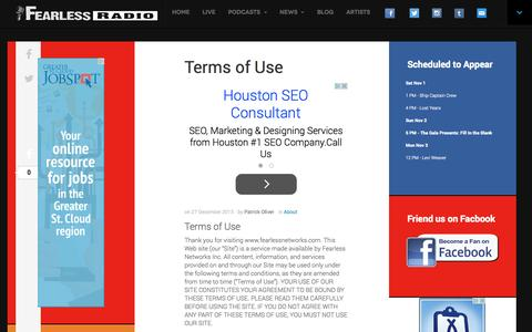 Screenshot of Terms Page fearlessradio.com - Terms of Use - Fearless Radio - captured Nov. 3, 2014