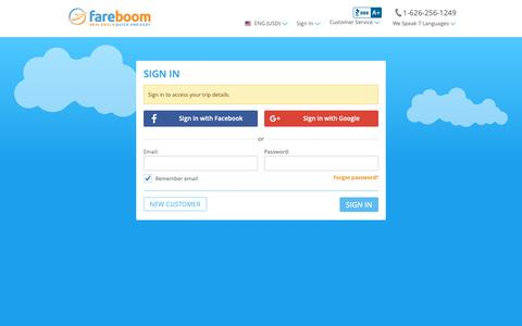 Screenshot of Login Page fareboom.com - Sign In - captured May 20, 2019