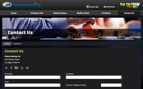 Screenshot of Contact Page galaxygaming.com - Contact Us :: Galaxy Gaming, Inc. (GLXZ) - captured Nov. 1, 2014