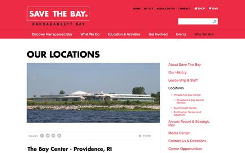 Screenshot of Locations Page savebay.org - Locations - Save The Bay - captured Oct. 4, 2014