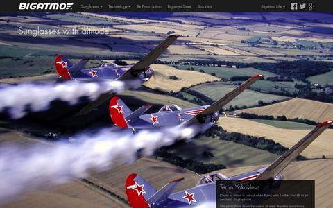 Screenshot of Home Page bigatmo.com - Bigatmo Sunglasses | Sunglasses for Pilots - captured Feb. 7, 2016