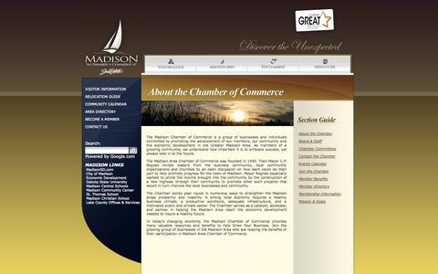 Screenshot of About Page chamberofmadisonsd.com - About the Chamber - Madison, South Dakota - Chamber of Commerce - captured Oct. 3, 2014