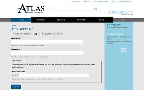 Screenshot of Login Page atlasresell.com - User account | Atlas Resell Management - captured Oct. 4, 2018