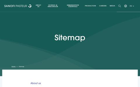 Screenshot of Site Map Page sanofipasteur.com - Sitemap - Sanofi Pasteur - captured Nov. 30, 2018