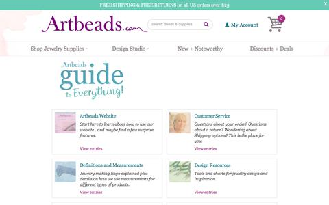 Screenshot of FAQ Page artbeads.com - Artbeads Guide to Everything - captured June 21, 2017