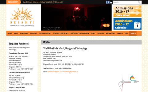 Contact | Srishti Institute of Art, Design and Technology