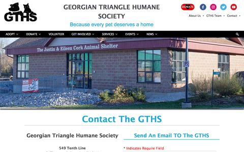 Screenshot of Contact Page gths.ca - Contact - Georgian Triangle Humane Society - captured July 29, 2017