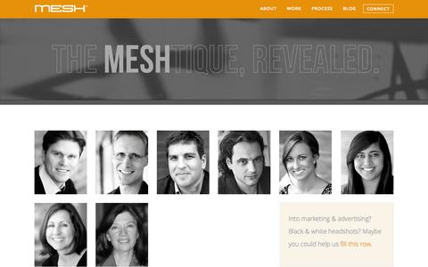 Screenshot of About Page Team Page meshbr.com - About Us: MESH | Integrated Marketing and Advertising, Baton Rouge LA | Branding, Public Relations, Social Media, Websites, Digital, Media, Mobile, Apps, Design. - captured Oct. 23, 2014