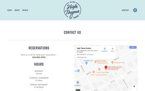 Screenshot of Contact Page highthyme.com - High Thyme   Contact - captured Oct. 22, 2018