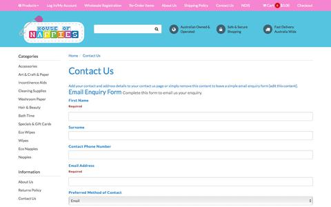 Screenshot of Contact Page houseofnappies.com.au - Contact Us - captured July 23, 2018