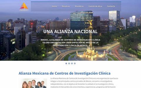 Screenshot of Home Page amexic.org - AMEXIC - Alianza Mexicana de Centros de Investigación Clínica - captured Sept. 30, 2014