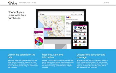Screenshot of Developers Page slice.com - Slice API - captured Sept. 17, 2014